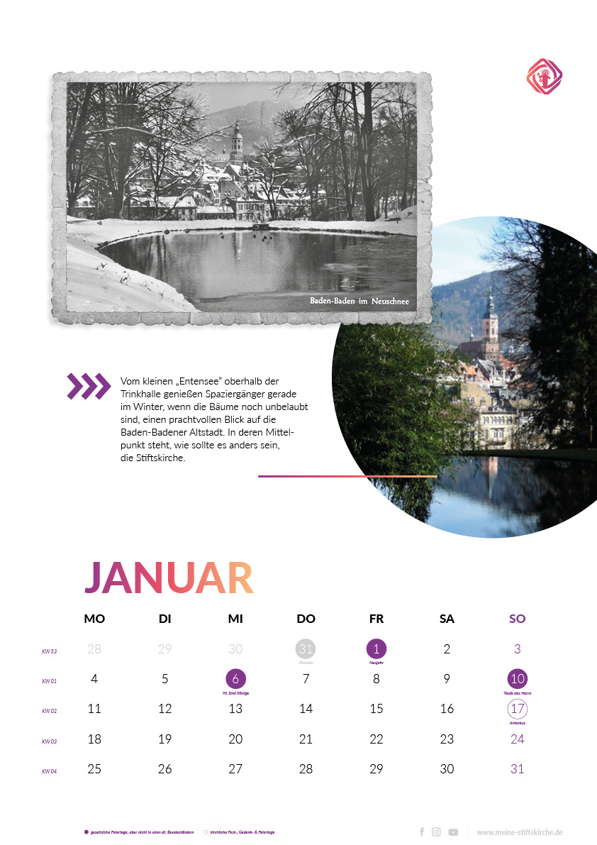 Das Kalenderblatt für Januar: Der kleine Entensee im Neuschnee, von dort hat man einen schönen Blick auf die Stadt - in deren Mitte die Stiftskirche