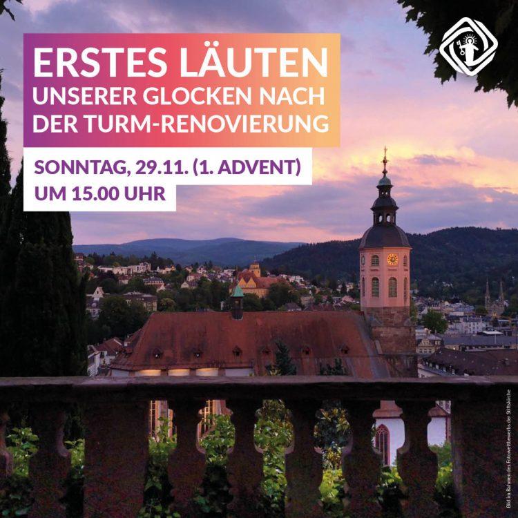Erstes Läuten der Glocken der Stiftskirche Liebfrauen Baden-Baden nach der Turm Renovierung